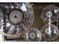 Vintage large crystal bowl and three smaller bowls