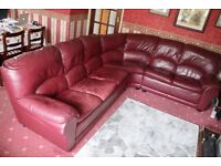 Burgundy Leather Corner Suite. The R/H unit 2450x 1100mm, the L/H unit 1800 x 880mm
