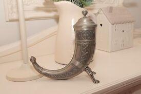Ornate Vintage Pewter Norwegian Drinking Horn.