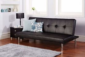 Brand New Italian Click Clack Leather Sofa Bed Delivery Available All Over London
