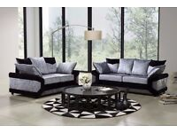Super Black and Silver Finish! Brand New Dino Crushed Velvet Corner Sofa Or 3 and 2 Seater Sofa