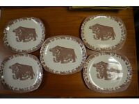 Vintage Retro Beefeater Plates x 5 Ironstone 70s Very Collectable Fareham £25.00