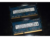 Laptop, sodimm memory, sk hynix 4gbx2 (8gb total ,pair) almost new PC3L-12800S