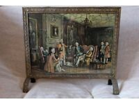 Linton Vintage Brass Plate Fire Screen / Guard with Print