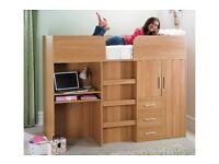 Brand new Multi bunk High sleeper Single bed with desk/ wardrobe/ drawers oak effect