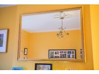 """Gold framed wall mirror 43"""" x 34"""" 