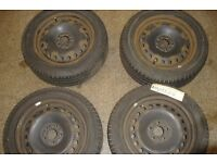 SET 4 USED WHEEL AND TYRES FROM ALMERA 205/55/R16