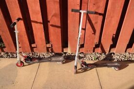 Razor scooters x 2, adjustable handlebars, 2 wheels, £15 each or 2 for £25.