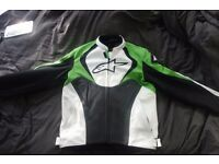 Alpinestars Jaws Leather Mens Race Track Motorcycle Motorbike Jacket Black Green [EURO 52 UK 42]