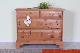 QUALITY MADE SOLID PINE 4 DRAWER CHEST WAXED FINISH - CAN COURIER