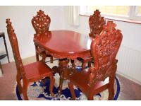 Narra Wood Dining Table & 4 Chairs, Rare!!