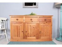 DELIVERY OPTIONS - 5 FT SOLID PINE SIDEBOARD 3 DRAWERS 3 DOORS, WAXED FINISH