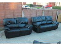 Black Three and Two Seater Leather Recliner Sofas
