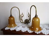 2 Pair of Old Brass Wall Lamps