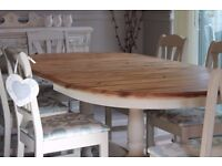 Shabby chic farmhouse style solid pine dining table and 6 chairs