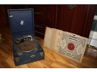 Antique Vintage Blue Apollo Record Player / Turntable with 4 Records