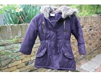 Girl's John Lewis Purple fur lined coat. Age 4yrs
