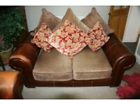 TWO LEATHER & CHENILLE LOOSE CUSHION BACKED SOFAS !!