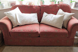 Marks & Spencer M&S Cambridge Sofa Bed & Armchair Terracotta Ethnic Motif £150 REDUCED PRICE