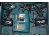 makita cordless Twin Kit with charger and 2x batteries