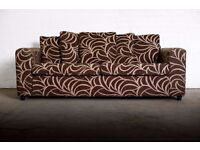 NICE THREE SEATER SCATTER BACK SWIRL PATTERN SOFA FROM FURNITURE VILLAGE