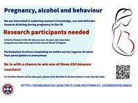 Participants wanted! Online survey on pregnancy and alcohol - 3 £50 Amazon vouchers to be won!