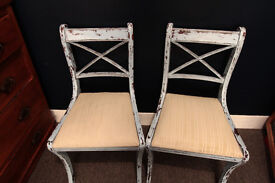 Chairs x2 Pastel Blue Shabby Chic Rustic Distressed Vintage
