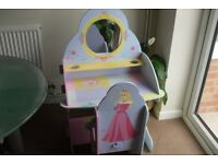 CHILDS DRESSING TABLE AND CHAIR