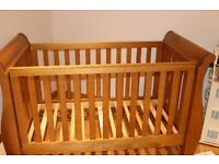 Boori 3 in 1 'The Sleigh' cot bed in Hertiage Teak colour, with matching Boori 4 drawer chest