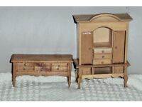 Wooden Dolls House Furniture, 5 1/4 inches & 2 inches tall,Wardrobe - Opening Doors & Drawers,Histon