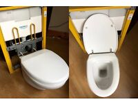 GROHE concealed cistern & frame with VILLEROY & BOCH wall hung toilet & bidet set