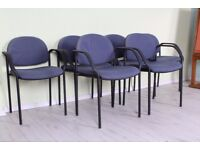 DELIVERY OPTIONS - 6 BLUE METAL FRAME STACKING RECEPTION CHAIRS OFFICE