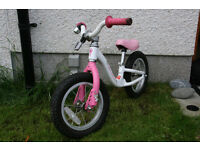 Pink push bicycle for 3-4 year olds