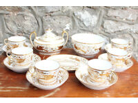 Stunning George III Early Minton Part Tea Set 1810 Handpainted Birds Gilded Georgian Mintons Antique