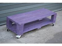 Handmade Coffee Table - Reclimed Wood Pallet - purple dye