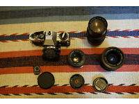 Olympus OM10 with 4 lenses and manual adapter
