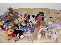 Large Bundle of Soft/Cuddly Toys - 70 Pieces including Ty, Disney, Russ, Boots