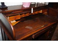 Vintage Edwardian Oak roll top desk