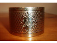 Vintage napkin ring. Believed to be silver-plated, but unmarked. Neutral design. Monogrammed