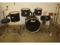 Pearl Export EX Series Black 5 Piece Drum Kit ISS Mounts 22in Bass Zildjian Cymbal Set - £475 ono