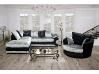 ** 1 YEAR WARRANTY ** BRAND NEW MAX DIAMOND CRUSH VELVET CORNER SOFA OR 3+2 ON SPECIAL OFFER