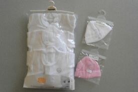 New low birth weight baby 3 sleeping suits & 2 hats bundle