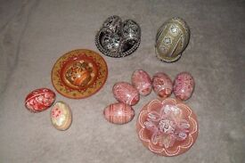 COLLECTION OF UKRAINIAN HAND PAINTED PYSANKY WOODEN EASTER EGGS