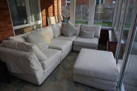 Corner sofa, loose covers and feather cushions. excellent condition £500