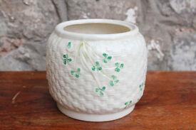 Vintage Belleek Basket Weave Biscuit Barrell / Planter Irish Plant Pot Holder