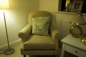 Well loved off white / cream fabric Armchair (Laura Ashley)