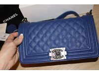 Chanel Le Boy in caviar dark blue real leather brand new