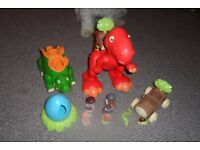 dino family includes two dinosaurs, car, egg and figures al very good condition