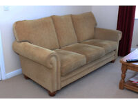 """Alstons 3 Seater Sofa """"Oxford"""" Second Hand.Good Condition. Gold Diamond Fabric"""