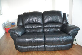 3 piece reclining black leather sofa's